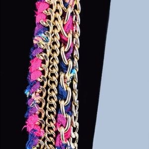 Jewelry - Bohemian Textile & Gold-Toned Chain Necklace